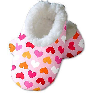 Snoozies Baby's Fleece Lined Footies, White with Rainbow Hearts Medium, 3-6m