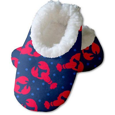 Snoozies Baby's Fleece Lined Footies, Blue with Red Lobsters Small, 0-3m