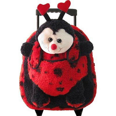 Kreative Kids 8066 Red Ladybug Plush Rolling Backpack