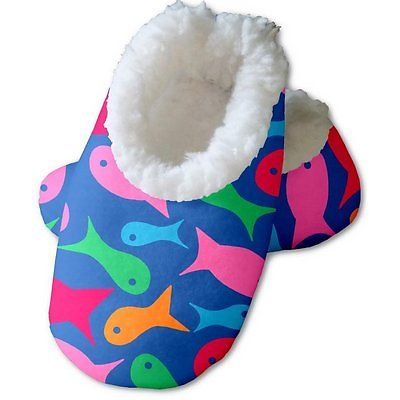 Snoozies Baby's Fleece Lined Footies, Blue with Fishes Large, 6-12m
