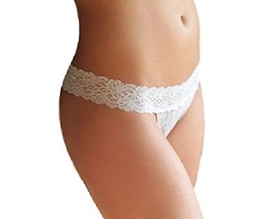 Coobie Undie Couture Lace Thong Panty 8247 White X-Small/Small