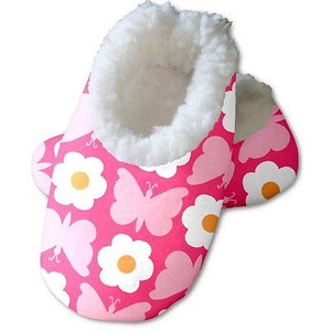 Snoozies Baby's Fleece Lined Footies, Floral Butterfly Small, 0-3m