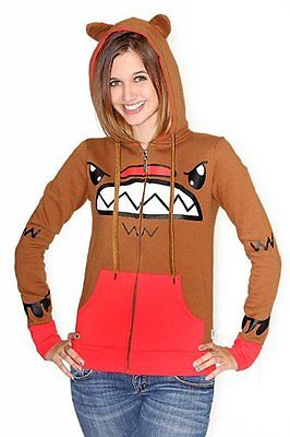 So So Happy Waffle Hoodie Brown Monster Large