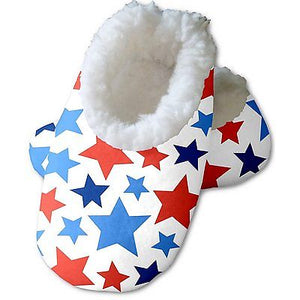 Snoozies Baby's Fleece Lined Footies, White with Multi Color Stars Large, 6-12m