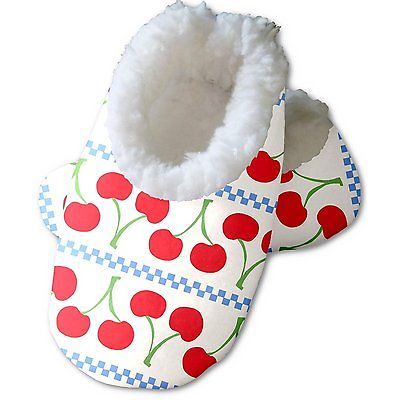 Snoozies Baby's Fleece Lined Footies, White with Cherries Medium, 3-6m