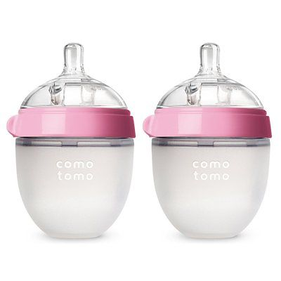 Comotomo Slow Flow BPA Free Baby Bottles Pink 5 Ounce 2-Count