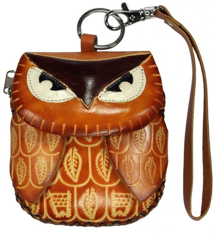 Littlekapsworld Women's Owl Genuine Leather Mini Purse Wristlet Light Brown