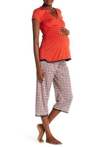 Majamas Womens' The Lacey Cropped MJ Nursing Pajamas Labyrinth Large