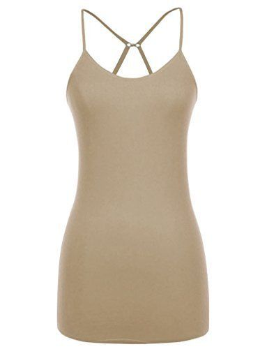 MB Trend Seamless Long Cami with Cross Back S1718 Khaki One Size