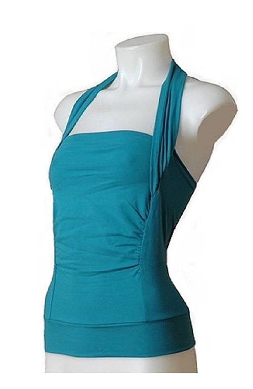 Vija Design Halter Strap Kangaroo Skin to Skin Top Lagoon Blue Medium-Large