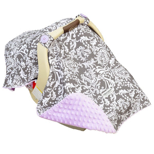 Carseat Canopy Baby carseat cotton blanket cover w/ Attachment straps - Belle
