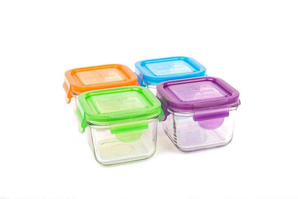 Wean Green Kitchen 4 set 7oz. Glass Snack Cubes with Multi Color Lids GL424GP