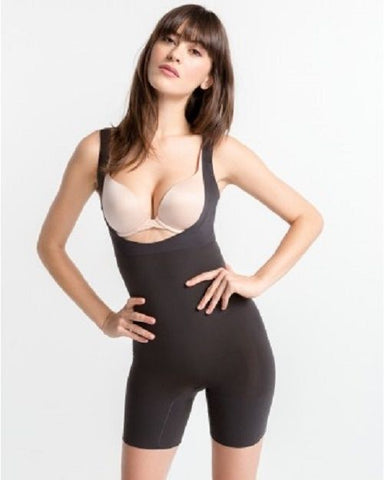 SPANX Shape My Day Open-Bust Mid-Thigh Bodysuit PS5615 Black 1X
