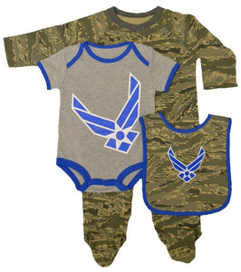 Trooper Clothing 3pc Abu Air Force Bib, Outfit & Crawler Gift Set 3720 Size 3-6M