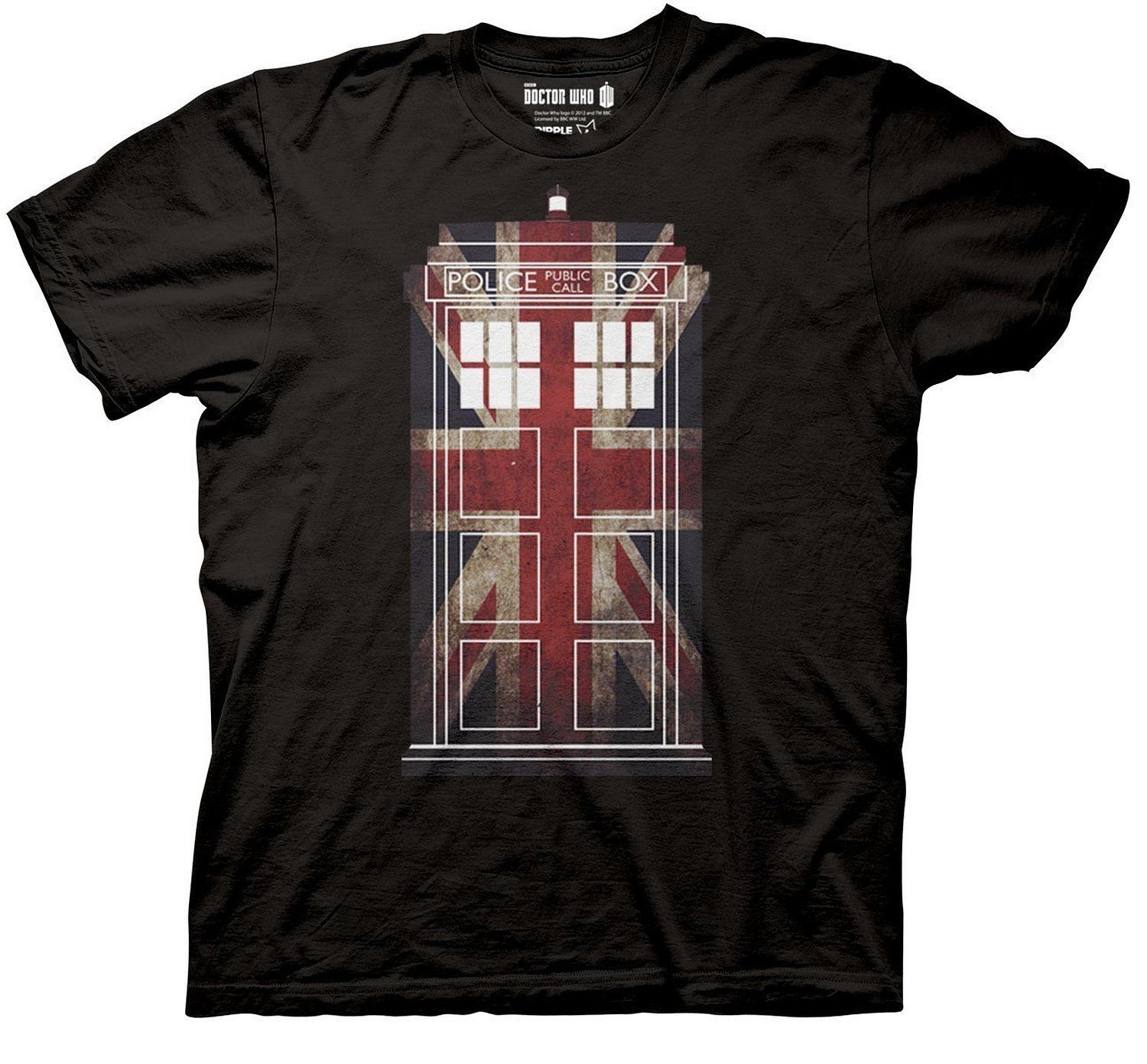 Dr Who Tardis Union Jack Black, 3XL