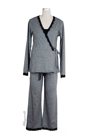 La Leche League Intimates 3-Piece Jacquard Pajama Set with Nursing Top 2X-Large