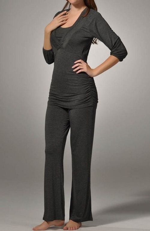 La Leche League Smocked Nursing Pajama Set 4355 Charcoal Large