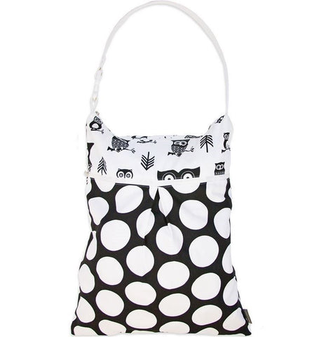 Logan + Lenora Daytripper Wet and Dry Tote Black and White Owls