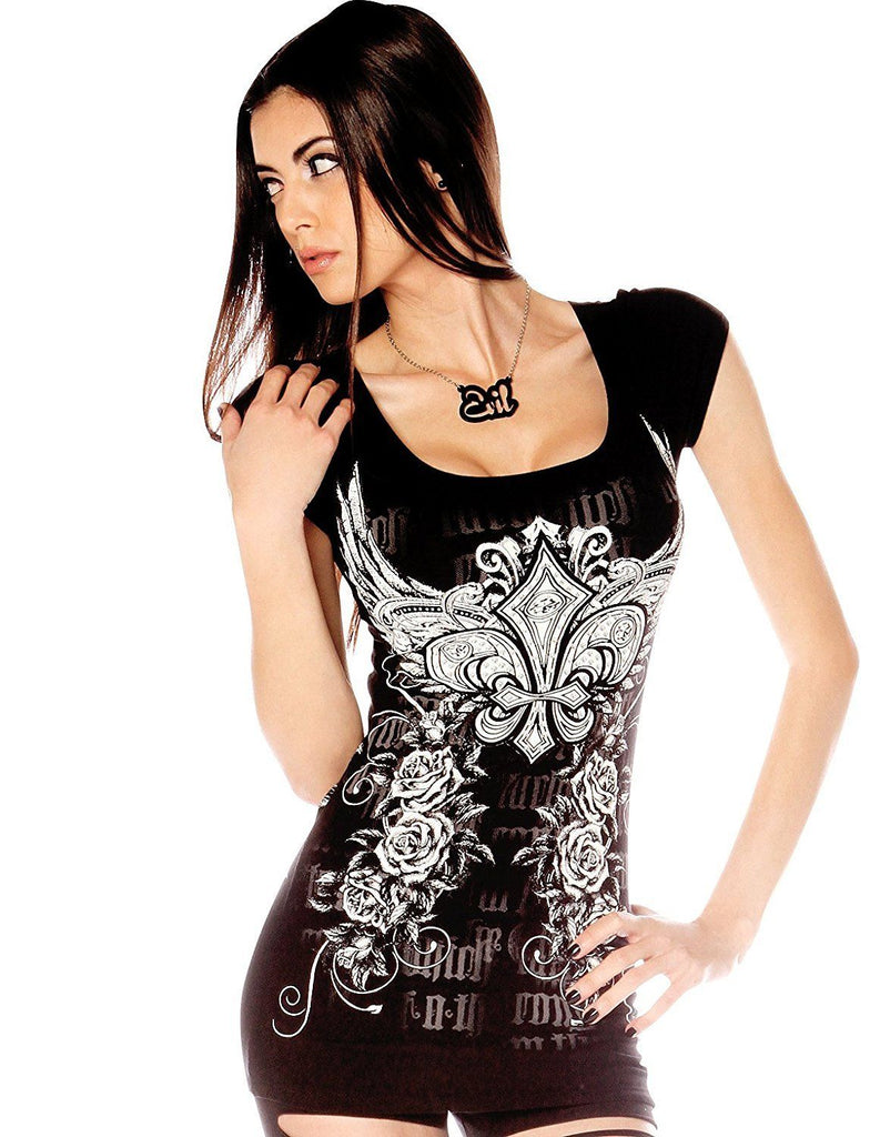 Folter Womens Slashed Back Gothic Tee