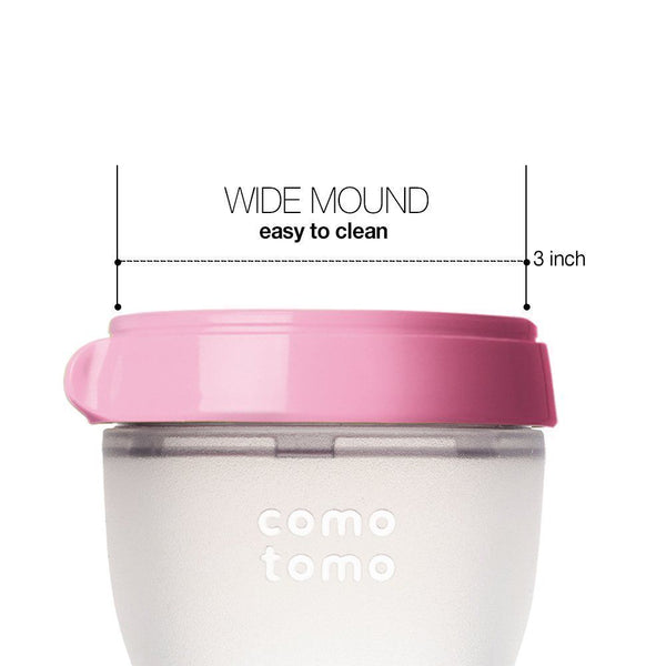 Comotomo Medium Flow BPA Free Baby Bottles Pink 8 Ounce 2-Count