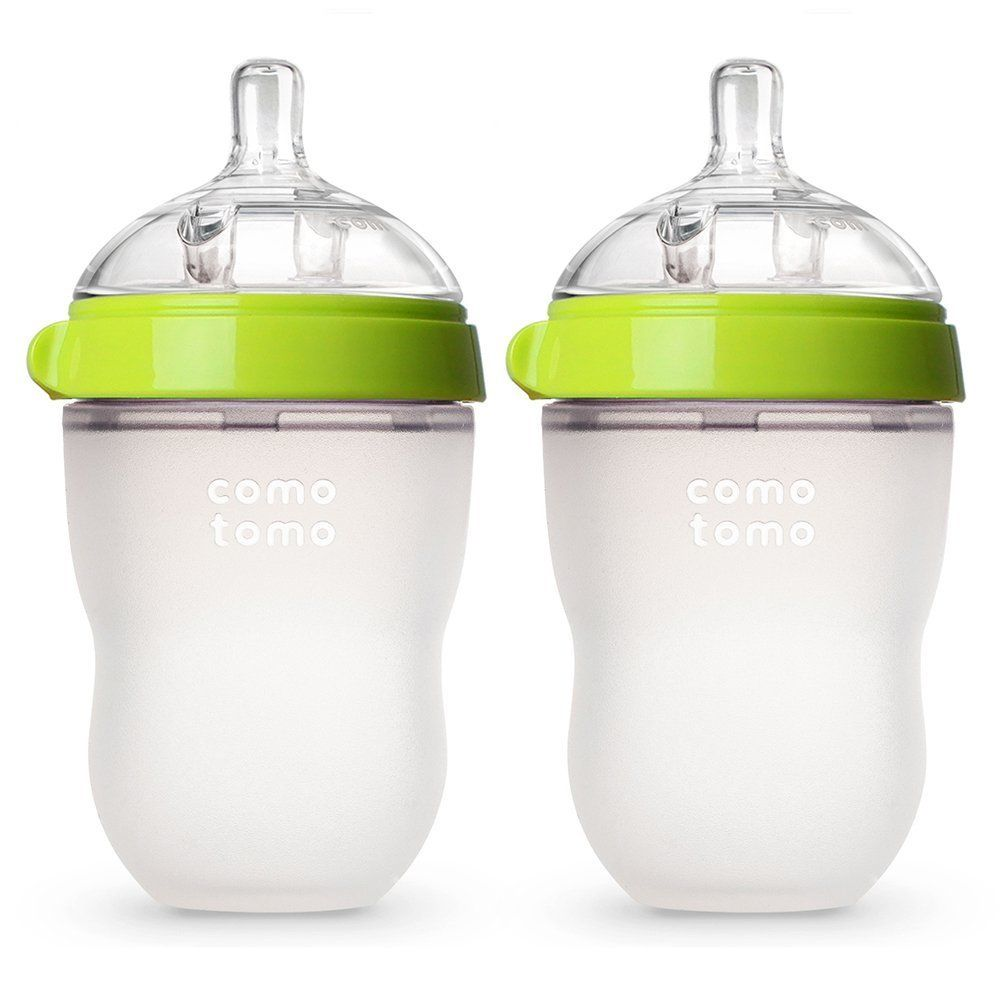 Comotomo Medium Flow BPA Free Baby Bottle Green 8 Ounce 2-Count