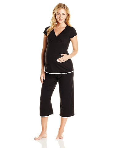 Majamas Womens' The Lacey Cropped MJ Nursing Pajamas Black Large