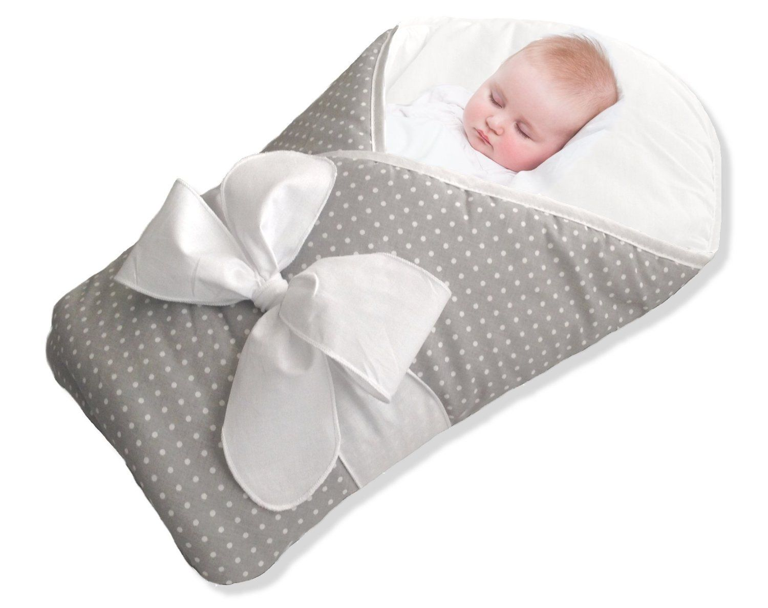 BundleBee Baby Wrap/Swaddle/Blanket, Feather Light/Gray Polka Dot, 0-4 Months