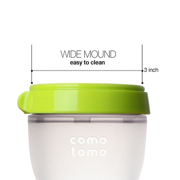 Comotomo Slow Flow BPA Free Baby Bottle Green 5 Ounce 2-Count