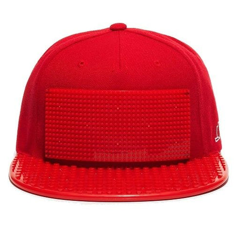 Snapback Baseball Cap Lego compatible Brick Brick Gear Build Your own Hat Red
