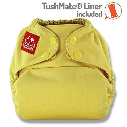 TushMate Cloth Diaper one side fits all 8-40 lbs snap Yellow