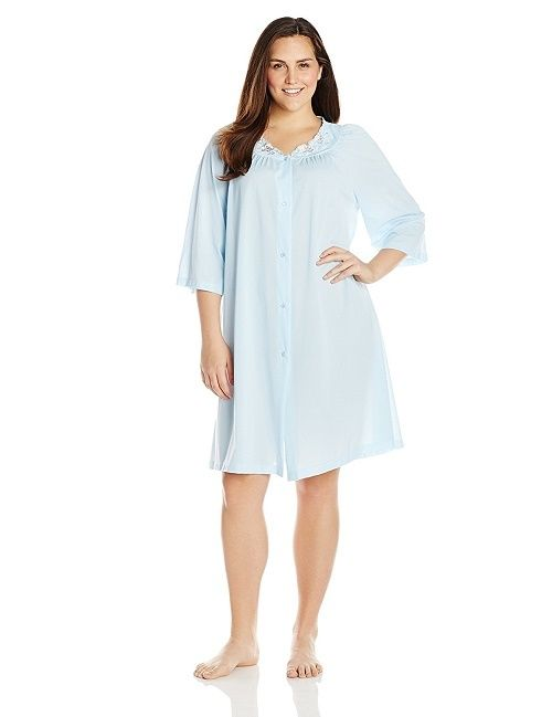 Shadowline Rose Embroidered Button Up Yoke Coat 77280 Blue 3X-Large