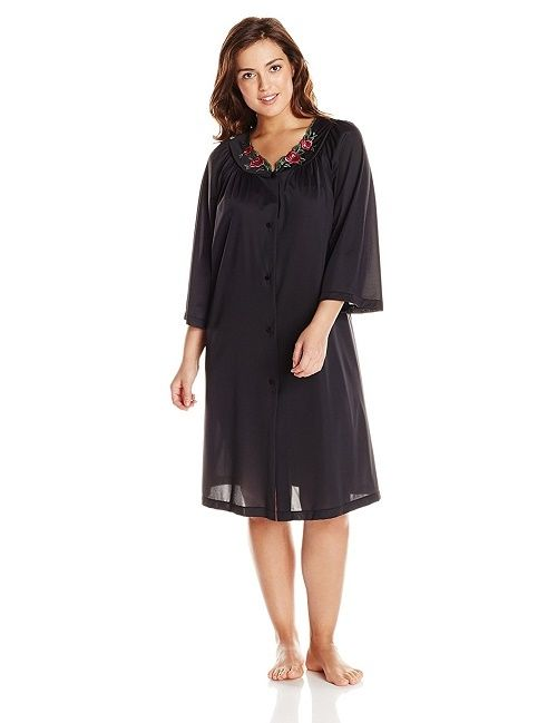 Shadowline Rose Embroidered Button Up Yoke Coat 77280 Black 3X-Large
