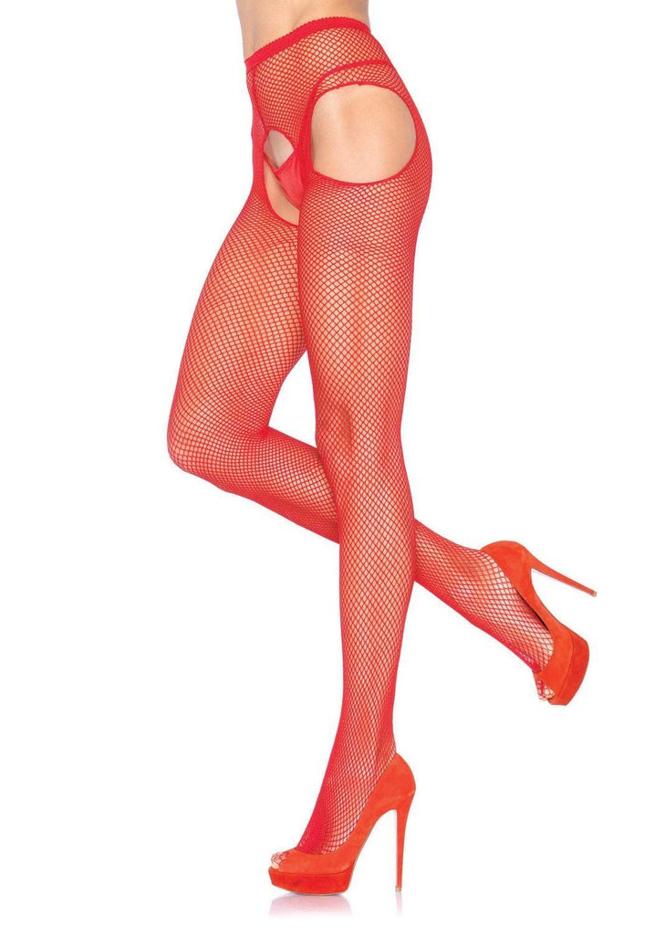 Leg Avenue Women's Fishnet Suspender Pantyhose, Red, One Size