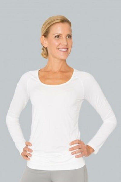 Cozy Orange Women's Aries Long Sleeve Yoga Shirt Optic White Medium