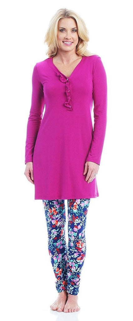 Eliseo Carmella Sleep Set Long Sleeve Tunic and Leggings Fiore