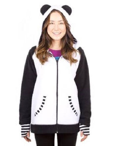 Crazyheads White Panda Hoodie with Striped Cuff, XX-Large