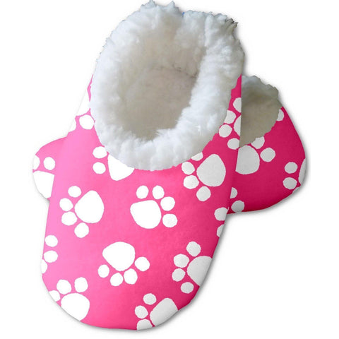 Snoozies Baby's Fleece Lined Footies, Pink with White Paws Large, 6-12m