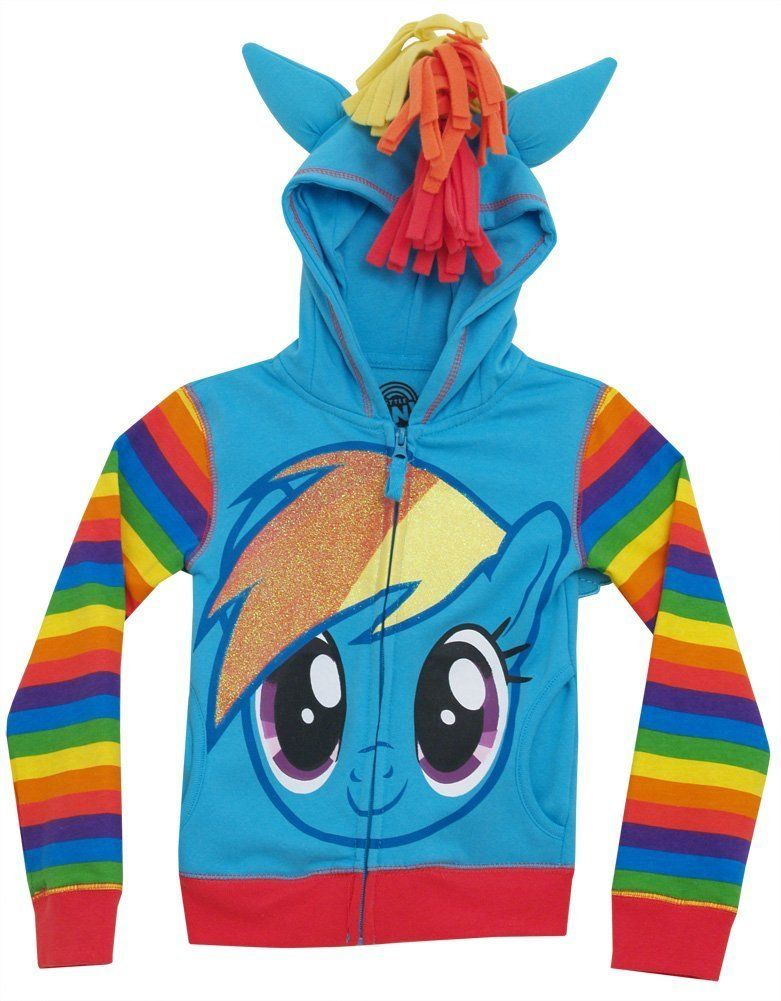 FREEZE My Little Pony Rainbow Dash Girls Hoodie Blue Multi Large 12/14