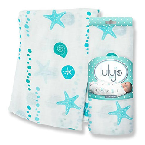 "Lulujo Bamboo Muslin Swaddling Wrap Seaside Beach 47"" X 47"""
