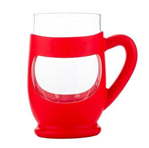 Kupp' Glass BPA Free 6 oz. Drinking Cup with Silicone Handle for Kids Red