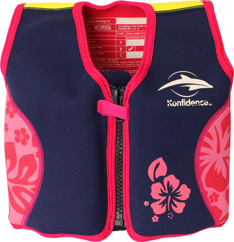 The Original Konfidence Jacket for bouyancy 4-5 years Pink/Navy Hibiscus