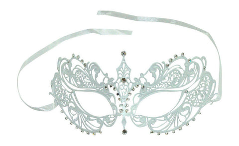 Kayso Filigree Mask Phantom Venetian Masqueerade White w/ Clear Rhinestones