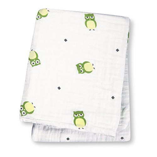 Lulujo Baby Cotton Muslin Wrap Swaddling Blanket (Green Owls)