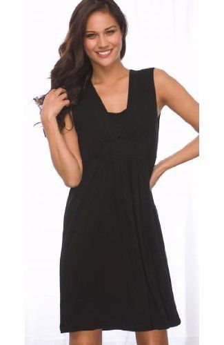La Leche League Nursing Chemise with Layer V-Neck 4370 Black Medium