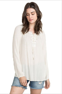 Eyelet Neck Raglan Blouse by IVETH