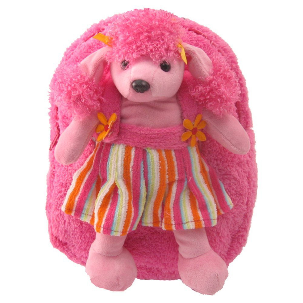 Kids Pink Backpack With Adorable Poodle Stuffie -Affordable Gift for your Little One! Item #DKKI-3185B