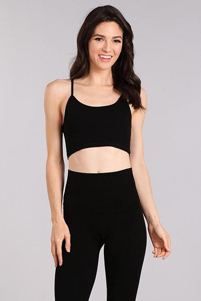 M. Rena Double Layer Mesh Racer Back Crop Cami Top C3832D Black One Size