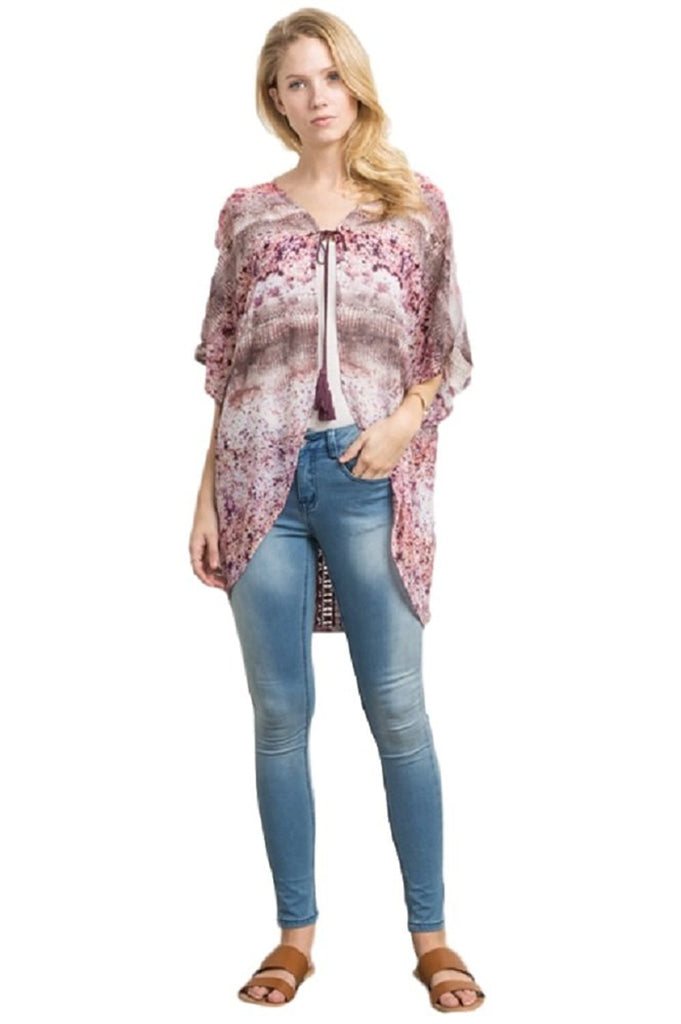 Printed Dolman Kimono with Lace by IVETH