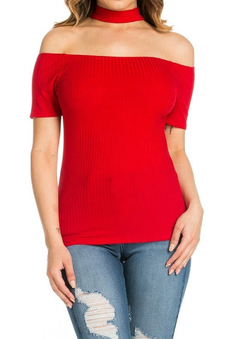 Fitted Neck Halter Off the Shoulder Top with Cap Sleeves