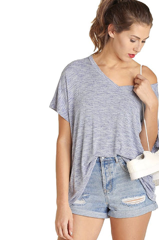 IVETH Woman's Over Sized Two Toned V Neck Top
